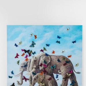 KARE Wandbild 120 x 120 cm ,bunt ,Holz, Textil, Natur