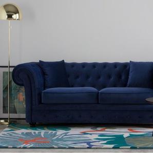 Branagh 2-Sitzer Sofa, Samt in Cyanblau