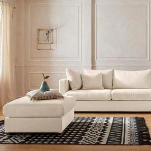 Guido Maria Kretschmer Home&Living Ecksofa »Arles«, Bezug im Baumwoll-/Leinenmix, mit Eichenbeinen, beige, Struktur