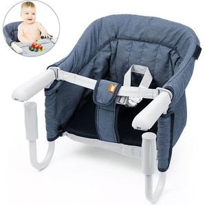 Tischsitz Faltbar Babysitz Baby Hochstuhl Sitzerhöhung für zu Hause und Unterwegs mit Transporttasche - AURALUM