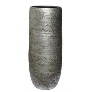 Vase aus Keramik H 30 /Ø 15 Silber/Schwarz