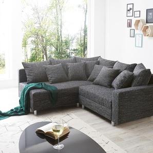 Ecksofa Clovis Schwarz Strukturstoff mit Armlehne Ottomane Links, Design Ecksofas, Couch Loft, Modulsofa, modular