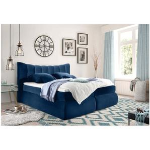 JUSTyou Lincoln Boxspringbett Continentalbett Amerikanisches Bett Doppelbett Ehebett Gästebett Blau