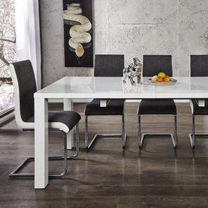 Moderner Design Esstisch LUCENTE 120-200cm weiß Hochglanz ausziehbar