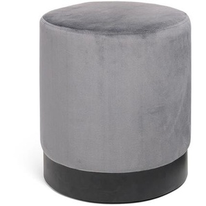 Samthocker, rund, D:38cm x H:42cm, dunkel-grau
