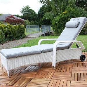 Rattan Loungeliege verstellbar Sonnenliege Polyrattan Lounge Gartenliege Weiß - MUCOLA