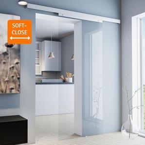Tür Schiebetür Glas klar 880x2035 Glasschiebetür Zimmertür - Griffknopf+Softclose - inova Star
