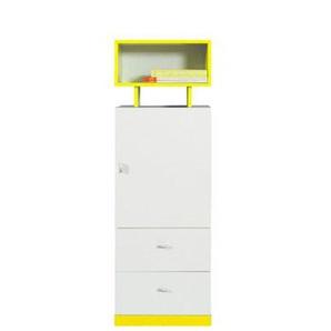Jugendzimmer - Schrank Geel 29, Weiß / Gelb - Abmessungen: 135 x 45 x 40 cm (H x B x T)