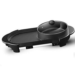 LJIE Korean Barbecue Hot Pot Doppeltopf, Integrierte Kochtopf, Elektrische Hot Pot Elektrische Barbecue Elektrische Backform,Roundpot,M
