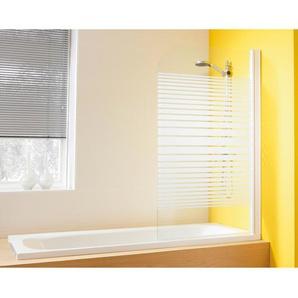 Badewannenaufsatz mit Abperl-Effekt Lepini I Echtglas Weiß 140 cm x 80 cm
