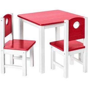 Kindersitzgruppe – Kindermöbel Set: 1 Tisch, 2 Stühle und optionale Truhenbank:Rosa, Tisch + 2 Stühle - DILUMA