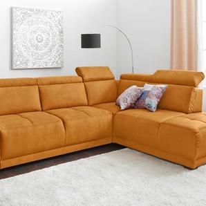 Ecksofa, gelb, Ottomane rechts, B/H/T: 277x44x56cm, hoher Sitzkomfort