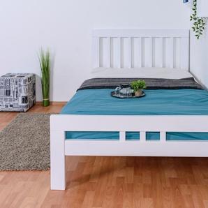 Jugendbett Easy Premium Line K8, 120 x 200 cm Buche Vollholz massiv weiß lackiert