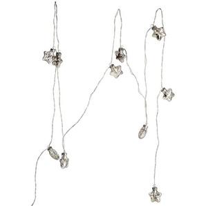 Lichterkette Glasstern antik, 10Led, Batterien, L:90cm, silber