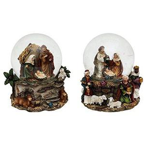Unbekannt Sigro Sortiert 2Heilige Familie Mini Snow Globe, 9x 7x 8,5cm, Braun