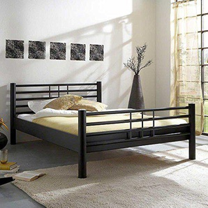 Pharao24 Bett aus Eisen Schwarz Breite 135 cm Tiefe 215 cm Liegefläche 120x200 Stütz-Steg