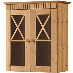 Loft24 Badezimmer Hängeschrank Wandschrank Oberschrank Badschrank Badmöbel 2 Glastüren Kiefer Massivholz Landhaus gebeizt geölt