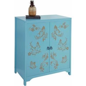 Home affaire Kommode mit Schmetterlingen, Breite 80 cm, blau