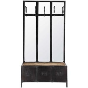 Garderobenmöbel aus Metall mit Spiegel schwarz Scott