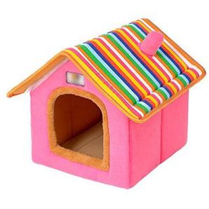 LvRao Haustier Haus Hund Katze Plüsch Bett Höhlenbett Faltbar abnehmbar Klein Hundehaus Hundehöhle Kuschelhöhle (Rosa, S)