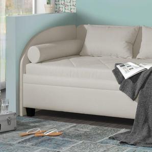 Stauraum-Studioliege mit Seitenlehne 90x200 cm grau - Kamina