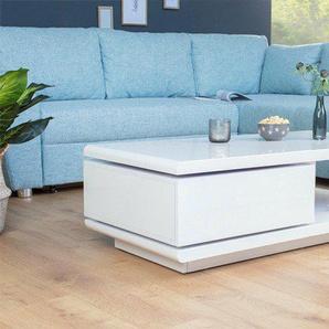 Moderner Design Couchtisch FORTUNA 120cm Hochglanz weiß mit funktioneller Schublade