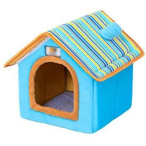 LvRao Haustier Haus Hund Katze Plüsch Bett Höhlenbett Faltbar Abnehmbar Klein Hundehaus Hundehöhle Kuschelhöhle (Blau, M)