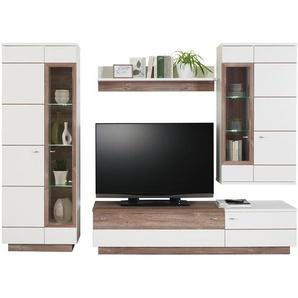Hom`in: Wohnwand, Glas, Holzwerkstoff, Weiß, Kiefer, B/