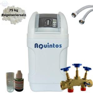 Wasserenthärter MKB 40 Eco-Line von Wasseraufbereitung | Entkalker mit Bypass-Funktion für 100% kalkfreies Wasser | Komplettset inkl. 75 kg Regeneriersalz - AQUINTOS-WASSERAUFBEREITUNG