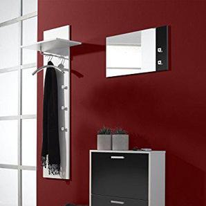 3-tlg. Garderoben-Set Torino Farbe: Weiß / Schwarz