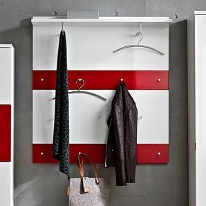 Wandgarderoben Paneel in Weiß Rot Hochglanz modern