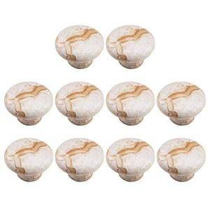 Batop 10 Stück Möbelknöpfe Keramik Marmor Design von Dekorative Schubladengriffe Griffe Knauf Tür für Schränke Schublade, Kleines einzelnes Loch