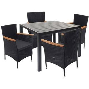 Poly-Rattan Garnitur HHG-601, Sitzgruppe Gartengarnitur, Akazie Holz ~ schwarz