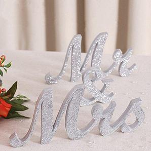 CHENXI Shop 28cm MR & MRS Silber Shining Bling Holz Buchstaben Schild Tisch Dekoration Hochzeit Favor Geschenk Zubehör