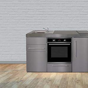 Miniküche Premiumline MPBES 160 – Edelstahl – Kühlschrank – Backofen (Induktionskochfeld rechts - Becken links)