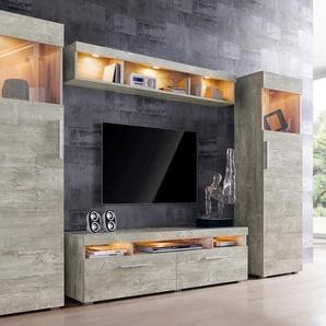 Wohnwand, grau, pflegeleichte Oberfläche