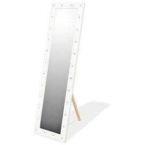 vidaXL Standspiegel Kunstleder MDF 45x150cm Weiß Ganzkörperspiegel Spiegel