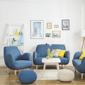 3-Sitzer Sofa Polsterbezug blau KOUKI