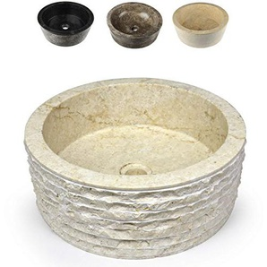 Divero Designbecken Marmor Naturstein Aufsatz-Waschbecken Roma Handwaschbecken Waschschale Stein poliert rund creme beige