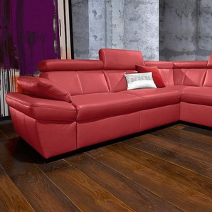 exxpo - sofa fashion Polsterecke, wahlweise mit Bettfunktion, rot, NaturLEDER