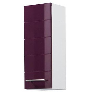 Held Möbel 014.2085 Rimini Hängeschrank 1-türig, 2 Einlegeböden, 25 x 64 x 20 cm, Hochglanz aubergine/weiß