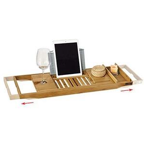 SoBuy® FRG207-N Badewannenablage aus Bambus Badewannenbrett mit Buchstütze, Wein Glashalter und Seifenfach, ausziehbares Badewannenauflage BHT ca: (70-104cm) x4x22cm