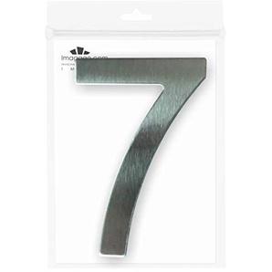 imaggge.com Hausnummer oder Wohnung, Edelstahl, gebürstet, selbstklebend, 7,6 cm hoch