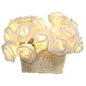 netproshop LED Lichterkette weiße Rosen Korb, 15 LED Lichter mit Batteriebetrieb & Timer, Auswahl:Weiss