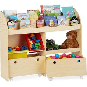 Kinderregal, Spielzeug Aufbewahrung, Kunststoff Boxen, Bücherregal, MDF, HxBxT: 88 x 108 x 29 cm, Holzoptik - RELAXDAYS