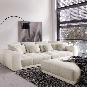 Big-Sofa Valeska 310x135 mit Hocker Grau Cremeweiss, Big Sofas