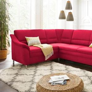 Sit&More Polsterecke mit Federkern, wahlweise mit Bettfunktion und Schubkasten, rot, Flachgewebe
