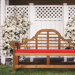 Gartenbank Holz 180 cm mit Auflage rot JAVA MARLBORO