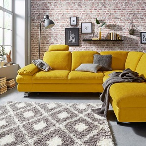 Trendmanufaktur Ecksofa, gelb, Ottomane rechts, B/H/T: 260x44x57cm, hoher Sitzkomfort