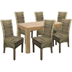 Teakholz Tisch 180x90x75 + 6 Stück Rattanstühle-MTH014+6xMRCH01 - MOJAWO
